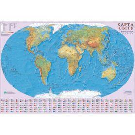 Карта Світу загальногеографічна М1: 22 000 000 160х110см картон/ламін./планки