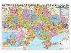 Карта України Адміністр. поділ М1:1 250 000 110х77см картон/планки НОВА