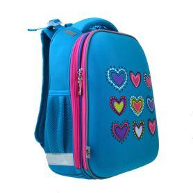 Рюкзак YES EVA Hearts turquoise 2відділення, ортопед.спинка, блакитний