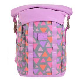 Рюкзак YES T-61 Colorful geometry 1відділення, ущільнена спинка, 2бічні кишені, рожевий