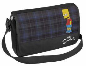 Сумка CFS Simpsons 37х24х10 через плече, клапан, клітинка чорна з синім, поліестер