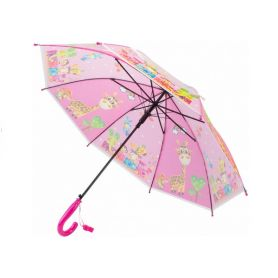 Парасолька дитяча Economix JOLLY ZOO тростина рожева, напівавтомат