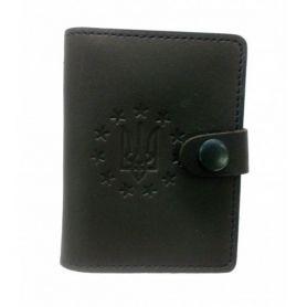 Обкладинка для ID паспорта+права на кнопці, престиж, шкіра кайзер