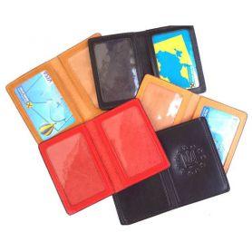 Обкладинка для ID паспорта, чорний, шкіра