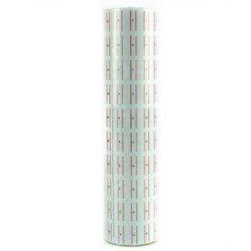 Етикет стрічка 20х10 800шт біла з червоною смужкою