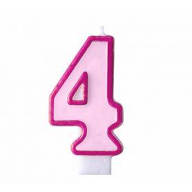 Свічка-цифра 4 рожева