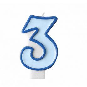 Свічка-цифра 3 блакитна