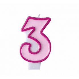 Свічка-цифра 3 рожева