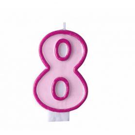Свічка-цифра 8 рожева