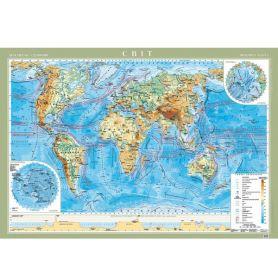 Карта Світу Фізична М1:22 000 000 158х108см картон/ламін./планки Картографія