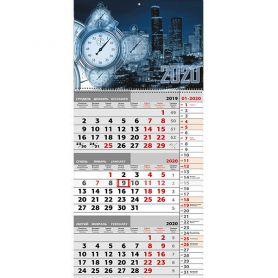 Календар настінний перекідний квартальний Нічне місто 31х66см 1 пружина *ФП